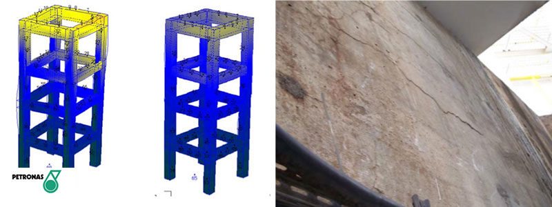 From left to right:  Animation of measured vibrations on RC structure before and after reactor installed with vortex flow mitigation device in cyclone | Cracks on primary beam at top of RC structure