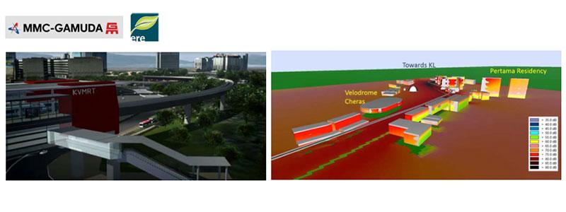 From left to right: Artist impression of MRT Station an viaduct at Pusat Bandar Damansara   3D noise modeling along Cheras.