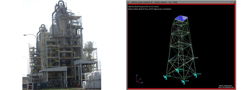 Photo of the rector structure, FEA to validate offshore Kertih structure response