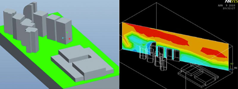 From left to right: CFD 3D modeling of buildings in KL Sentral | Pressure profiles from wind CFD analysis
