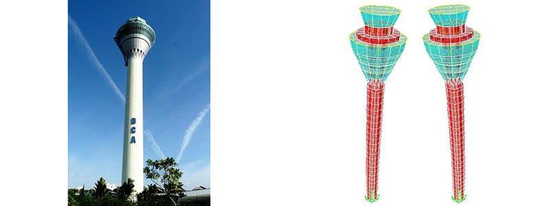 From left to right: KLIA Air traffic control (ATC) tower | Dynamic response of KLIA ATC tower