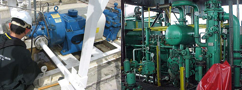 Left to right: High pressure methanol pump with recurring seal failures due to pipe resonance, Keith | Reciprocating compressor and gas piping system, Petronas Carigali, Tukau offshore gas platform, Sarawak
