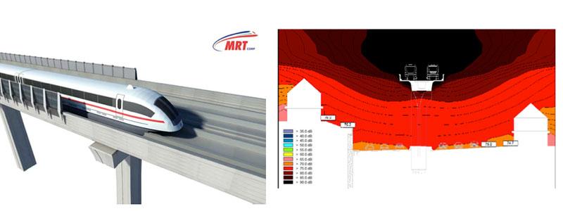From left to right: Noise barrier design for new Klang Valley MRT Sg Buloh Kajang line | Typical results from noise modeling for KVMRT adjacent residential house