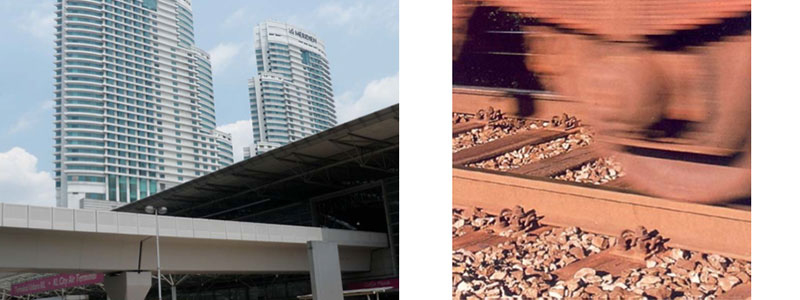 From left to right: Hotels in KL Sentral built over KTM railway lines isolated with ballast mats designed by UTM | Ground‐borne vibration and noise due to rail wheels interaction made worst by deterioration in wheels and rails