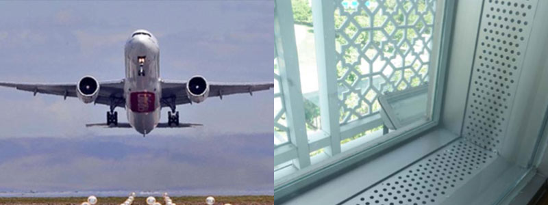 From left to right: Aircraft take offs often results in the highest noise (Lmax levels) | Glazing design and selection are critical for aircraft noise. Glazing in KLIA landside Hotel rendering aircraft noise inaudible