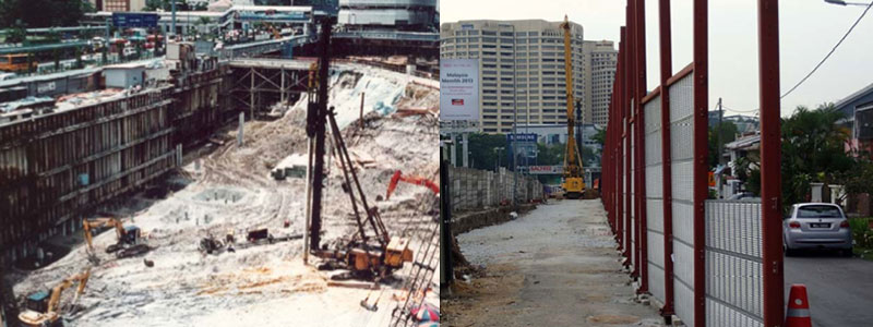 From left to right: Typical construction site in urban areas, Johor Bahru | Erection of temporary noise barriers at Klang Valley MRT con‐ struction site fronting houses