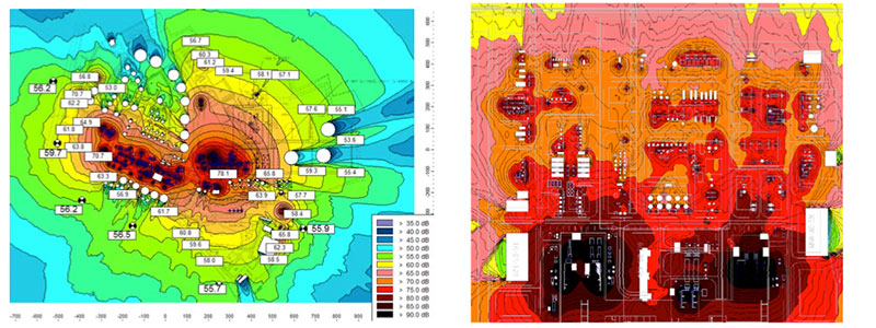 From left to right: Refinery plant expansion noise contours | Elastomer plant noise contours