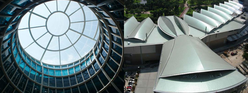From left to right: Glazing at Danga Bay, Johor | Metal roof for KL Convention Center designed by UTM to render rain noise inaudible in Plenary Hall and Convention Halls.